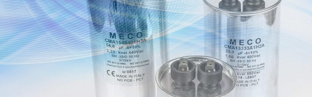 , Condensatori in film di polipropilene monofase e trifase per rifasamento industriale, Meco Capacitors, Meco Capacitors